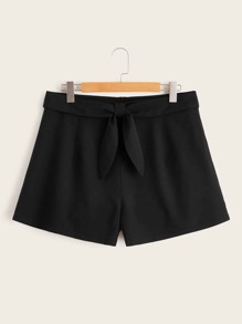 Plus Tie Front Solid Shorts