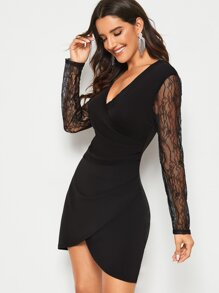 Contrast Lace Sleeve Asymmetrical Hem Dress