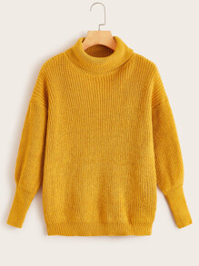 Solid Drop Shoulder High Neck Sweater