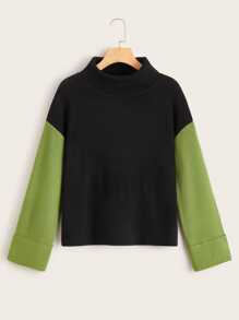 Contrast Panel High Neck Sweater