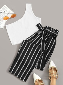 One Shoulder Rib-Knit Crop Top With Striped Belted Pants