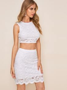 Guipure Lace Crop Top With Scallop Trim Skirt