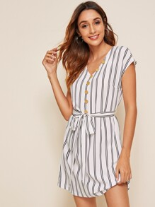 Single Breasted Self Belted Striped Dress