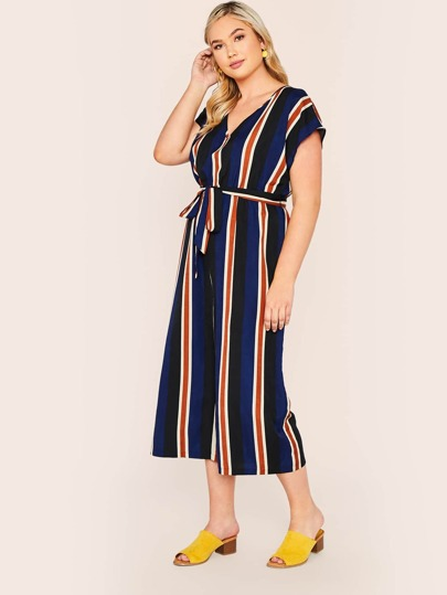 ae64547e3ae Plus Size. SHEIN Plus Striped Belted Wide Leg Jumpsuit. Plus Striped Belted  Wide Leg Jumpsuit