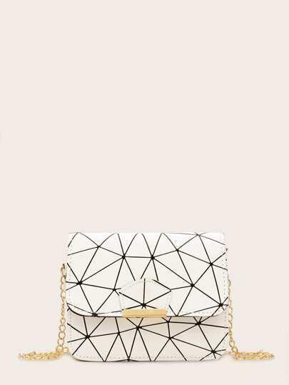 Geometric Print Chain Crossbody Bag
