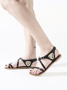 Toe Ring Cut Out Flat Sandals