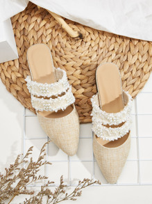 Point Toe Faux Pearl Decor Flat Mules
