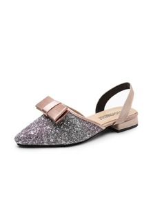 Bow Decor Glitter Slingback Flats