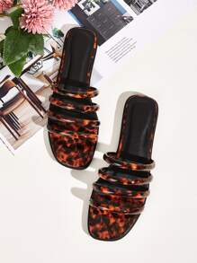 Tortoiseshell Strappy Open Toe Sliders