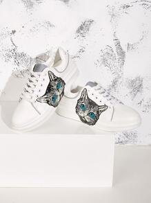 Cat Print Lace-up Front Low Top Sneakers