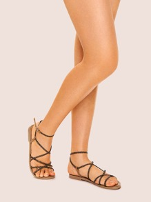 Plaited Strappy Ankle Strap Sandals