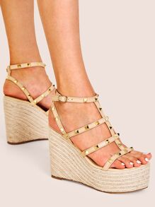 Studded Decor Ankle Strap Espadrille Wedges