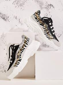 Animal Scarf Print Chunky Sole Trainers