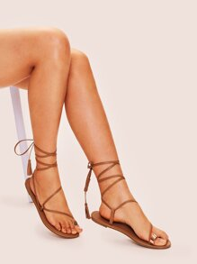 Tassel Decor Tie Leg Toe Ring Sandals