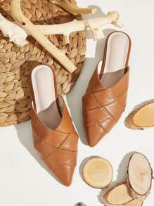 Point Toe Quilted Detail Flat Mules