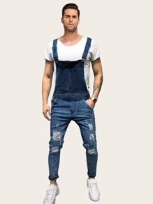 Men Ripped Dungaree Pants