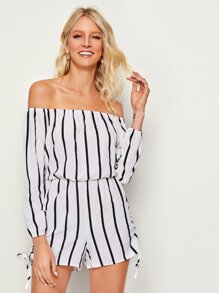 Striped Drawstring Bardot Romper