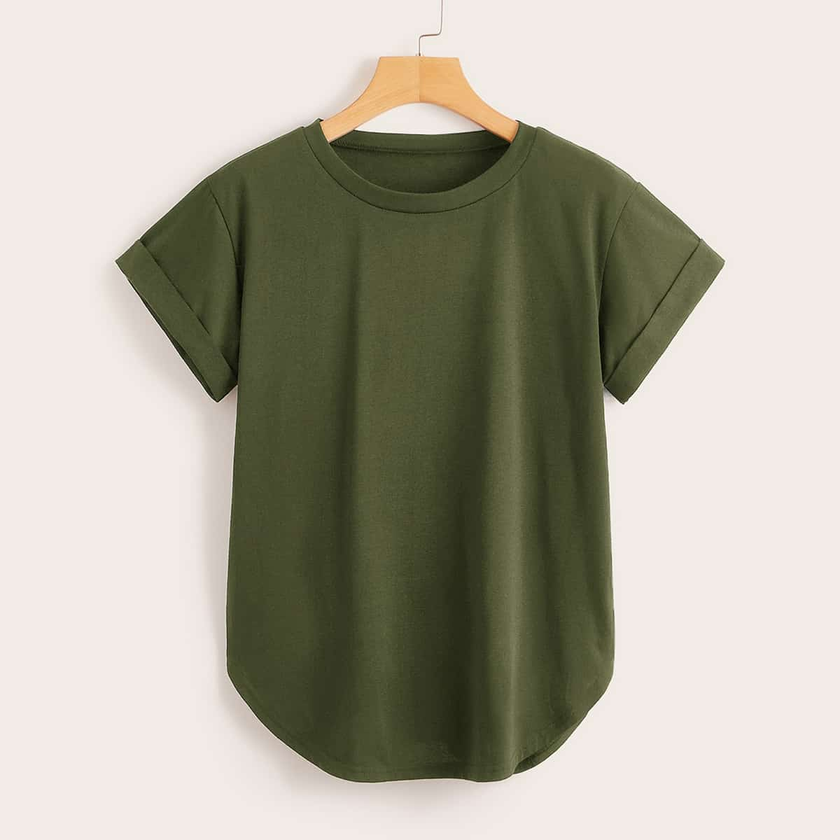 SHEIN coupon: Rolled Cuff Curved Hem Solid Tee