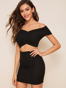 Rib-Knit Crossover Crop Top With Skirt