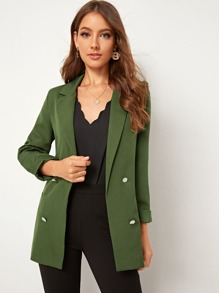 Double Breasted Slit Back Notched Blazer