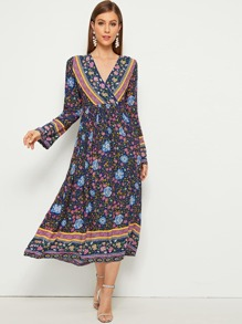 Ditsy Floral Surplice Front V-Neck Dress