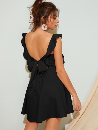Ruffle Trim Tie Back Backless Dress