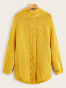 Cable Knit High Neck Raglan Sleeve Sweater
