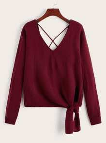 Solid Criss Cross Knot Hem Jumper