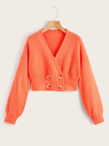 Button Decoration V-neck Pullover Sweater