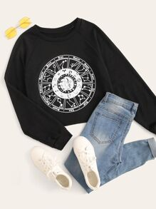 Constellation Print Raglan Sleeve Sweatshirt
