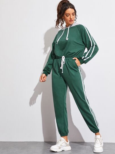 Side Striped Drawstring Hoodie With Sweatpants