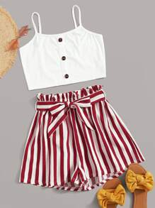 Button Front Cami Top With Striped Belted Paperbag Shorts