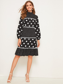 Frill Neck Polka Dot Ruffle Hem Midi Dress