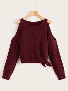 Cold Shoulder Knotted Detail Solid Sweater