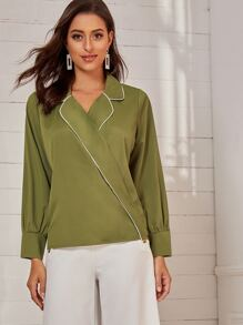 Contrast Piping Trim Surplice Front Blouse