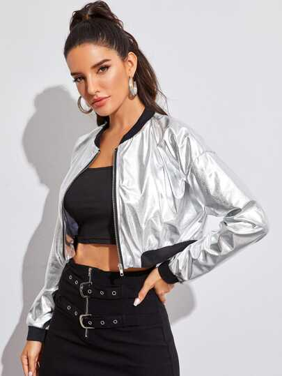 Contrast Trim Crop Metallic Bomber Jacket
