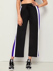 Contrast Side Slit Hem Pants