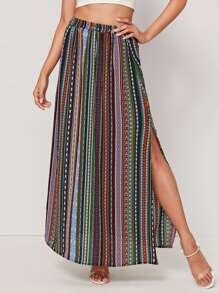 Tribal Print Split Thigh Maxi Skirt