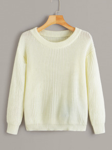 Solid Drop Shoulder Pullover Sweater