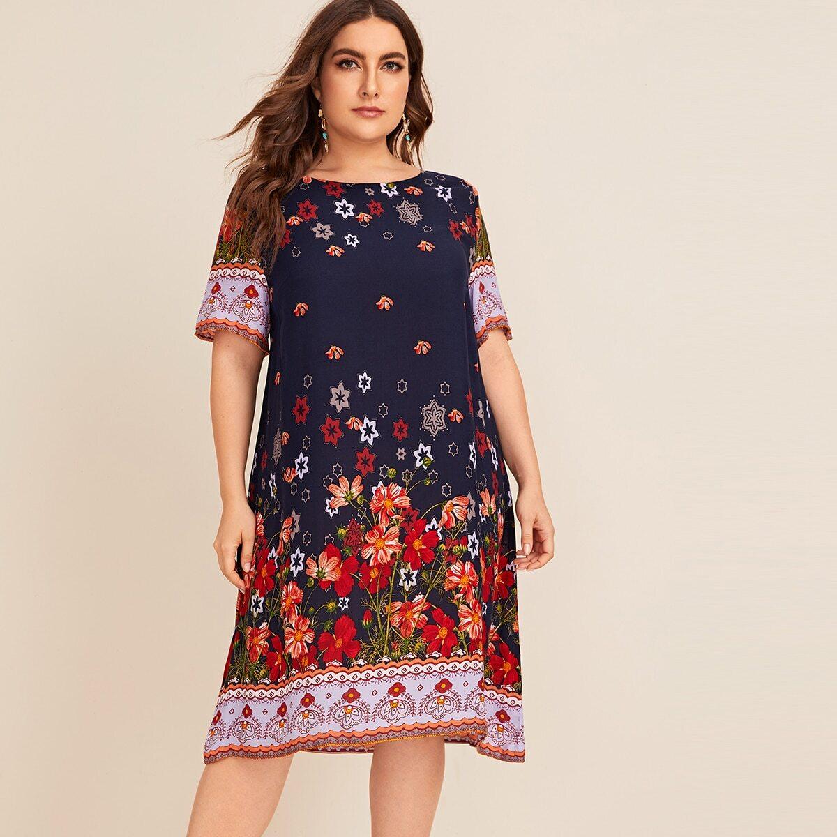 Платье с цветочным принтом размера плюс