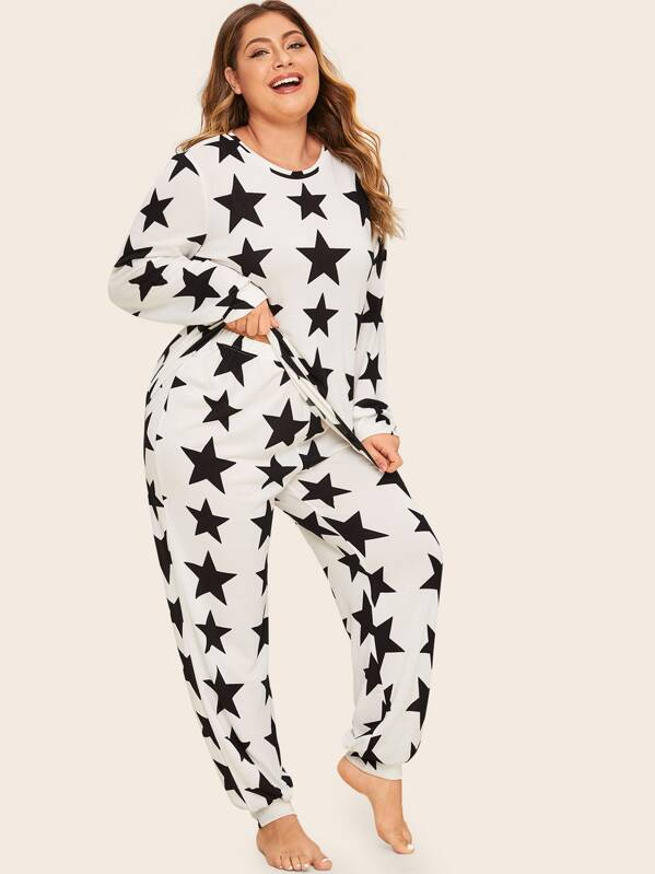SheinPlus Star Print Top & Pant Pj Set by Sheinside