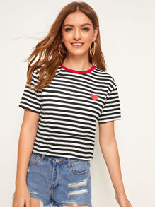 Heart Print Striped Top