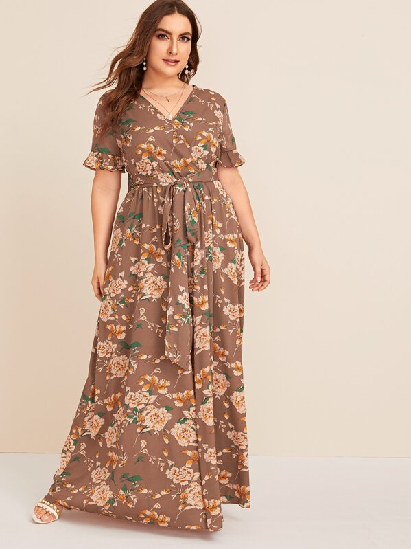 Plus Surplice Neck Self Belted Floral Maxi Dress