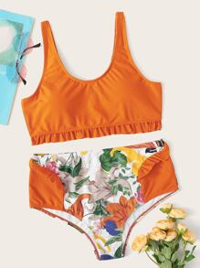 Ruffle Hem Top With Floral Bikini Set