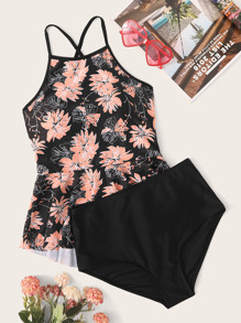 Floral Criss Cross Top With High Waist Tankini