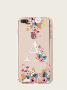 Flower & Letter Pattern iPhone Case