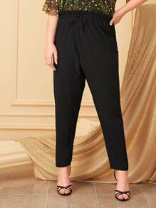 Plus Drawstring Waist Pants