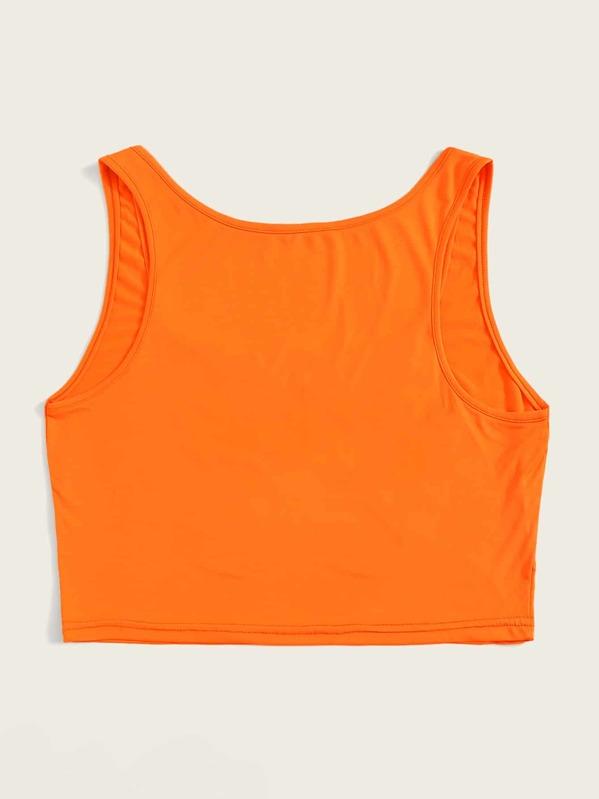 378d413b518 Plus Letter Print Neon Orange Tank Top