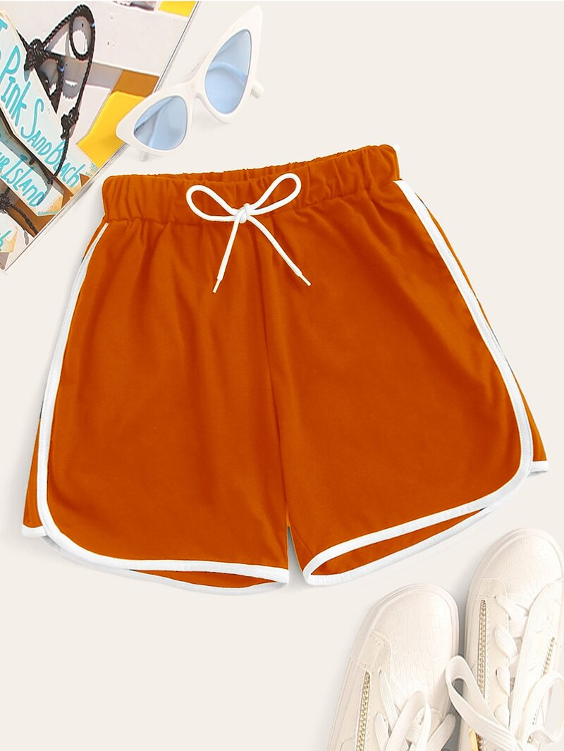 Neon Orange Shorts by Romwe