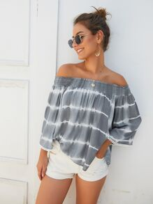 Tie Dye Shirred Bardot Top